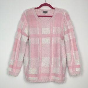 VTG Pastel Pink White Fuzzy Sweater L